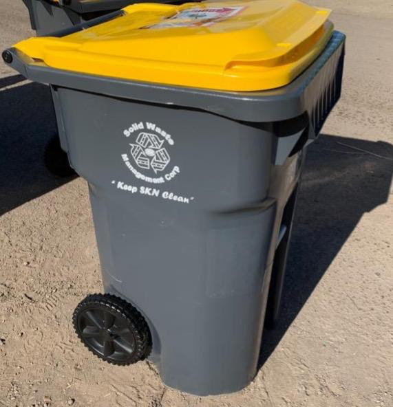 Smart bins distributed to residents in the Stapleton community in St. Kitts