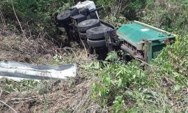 Solid Waste Dumpster Truck overturns in Frigate Bay, St. Kitts
