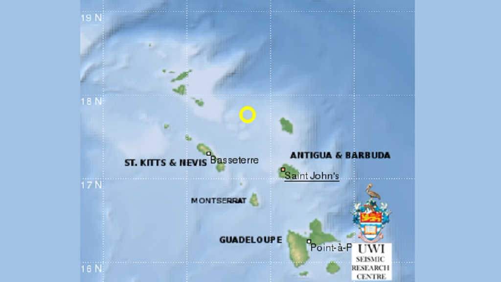 Earthquake recorded 66 km Northeast of SKN